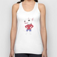 bull terrier Tank Tops featuring Bull terrier by Tomoko K