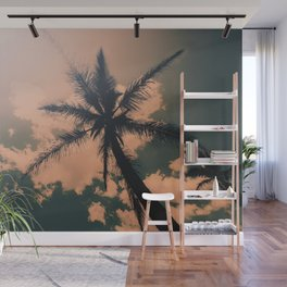 Palm Tree Turquoise Vintage Summer Beach Wall Mural