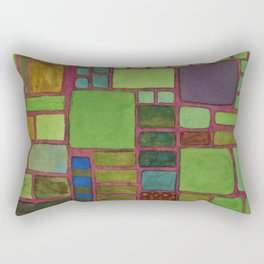 Collection of Rectangles with Blue Striped Staff Rectangular Pillow