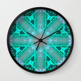 MOROCCAN TILES_in turquoise Wall Clock
