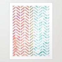 herringbone Art Prints featuring Herringbone by Chilligraphy