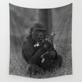 Cheeky Gorilla Lope Mono Wall Tapestry