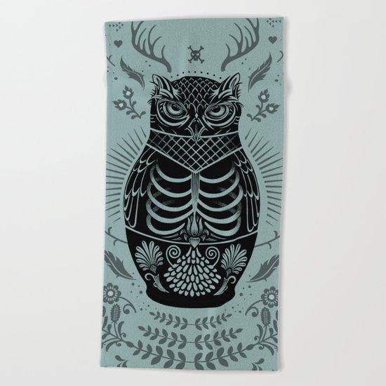 Owl Nesting Doll (Matryoshka) Beach Towel