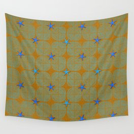 Blue starfish on a green beach Wall Tapestry