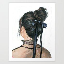 Black bow messy bun Art Print