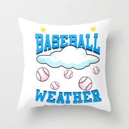 It's Always Baseball Weather Raining Baseballs Throw Pillow