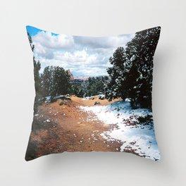Snowy Mountain Path Throw Pillow