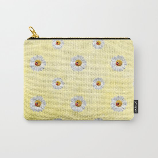Daisies in love- Yellow Daisy Flower Floral pattern with Ladybug on #Society6 Carry-All Pouch