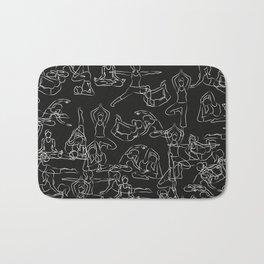 Chalkboard Yoga Pattern - white on black Bath Mat