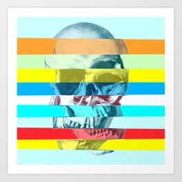 Striped Glitch Skull Art Print
