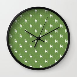 Deer pattern retro colors Christmas Day neon green background Wall Clock