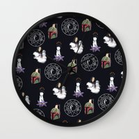 witchcraft Wall Clocks featuring The WitchCraft Of The DarkSide by Robert Payton