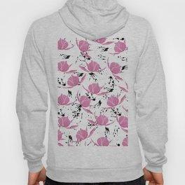 Pink black watercolor paint splatters floral Hoody
