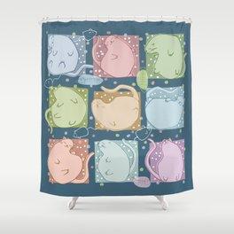 Blobby Cats dark Shower Curtain