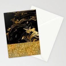 Luxury and glamorous gold glitter and black marble Stationery Cards
