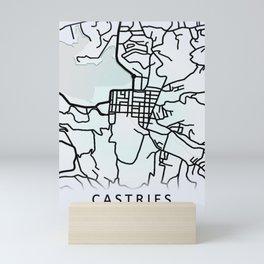 Castries, Saint Lucia, White, City, Map Mini Art Print