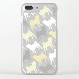Grey and Yellow Pugs Pattern Clear iPhone Case