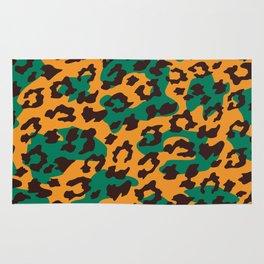 Modern orange brown jade green animal print Rug