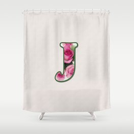 Letter J Rose Monogram Shower Curtain
