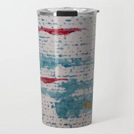 Art Therapy Aqua Blue and Red Travel Mug