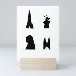 Delft dark silhouette Mini Art Print