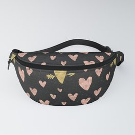 Rose Gold Hearts with Yellow Gold Hearts on Black Fanny Pack