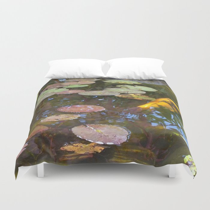 Koi Pond and Lilypads Duvet Cover