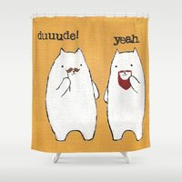 because cats Shower Curtains featuring Bro Cats by teapartyanimals