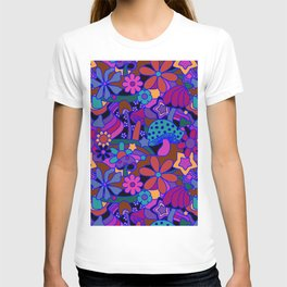 70's Psychedelic Garden in Cool Jeweltone T-shirt
