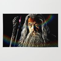 gandalf Area & Throw Rugs featuring Gandalf by D77 The DigArtisT
