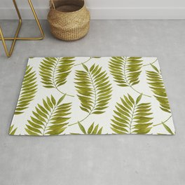 Olive Green Watercolor Palm Leaves Pattern Rug