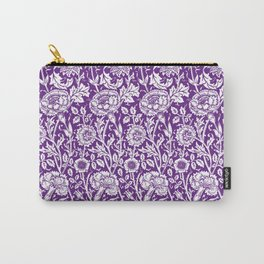 "William Morris Floral Pattern | ""Pink and Rose"" in Purple and White Carry-All Pouch"