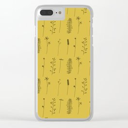 Minimal Flower Pattern Thin Line Mustard Yellow Clear iPhone Case