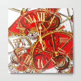 RED-WHITE ABSTRACT GOLDEN STEAMPUNK CLOCK WORKS Metal Print