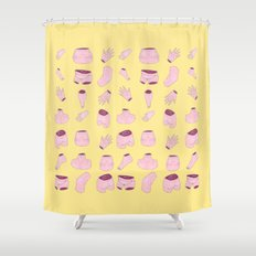 body parts yellow Shower Curtain