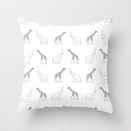 Elephant And Giraffe Throw Pillow
