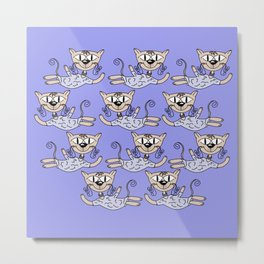 Flying cats in blue Metal Print