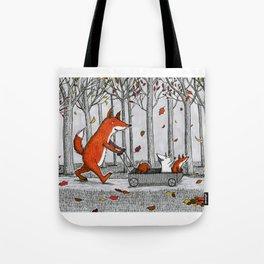Fox Family Enjoying the Fall Leaves Tote Bag