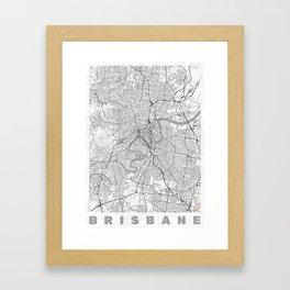 Brisbane Map Line Framed Art Print