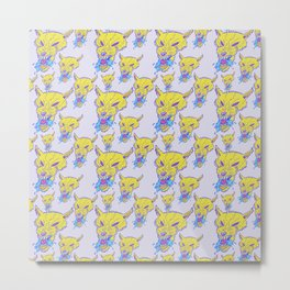 Neon Wolf Pattern Metal Print