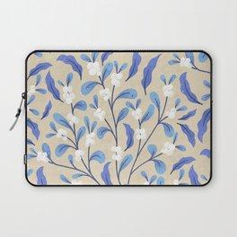 Snowberry Botanical | Blue on Tan Laptop Sleeve