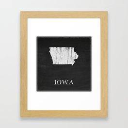 Iowa State Map Chalk Drawing Framed Art Print