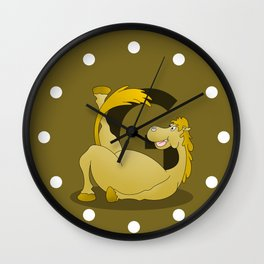 Pony Monogram Letter G Wall Clock