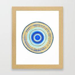Turquoise Evil Eye Mandala Framed Art Print