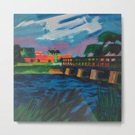 Bridge near Lebo landscape painting by Hermann Max Pechstein Metal Print