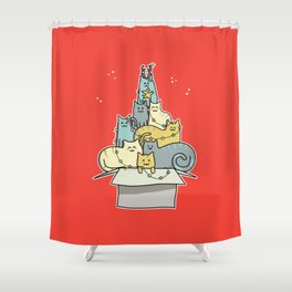 Cute Kawaii Cat Christmas Tree Shower Curtain