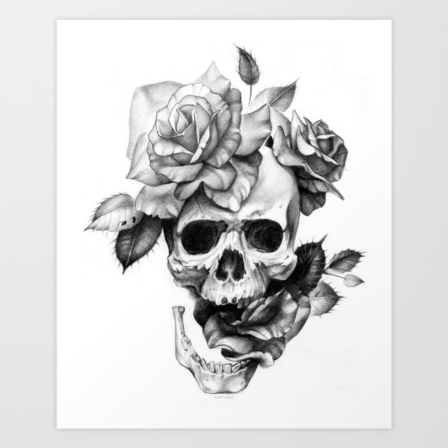 Black and white skull and roses art print