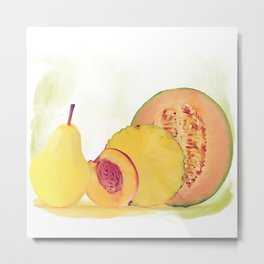 Fresh yellow fruits watercolor Metal Print