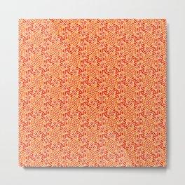 Burnt Orange Jazz Busy Red Clay Hexagon Country Southwestern Design Pattern Metal Print