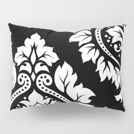 Decorative Damask Art I White on Black Pillow Sham